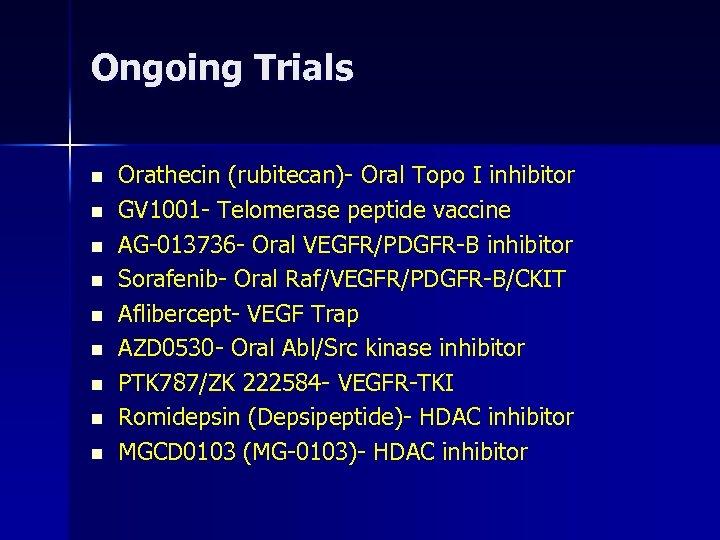 Ongoing Trials n n n n n Orathecin (rubitecan)- Oral Topo I inhibitor GV