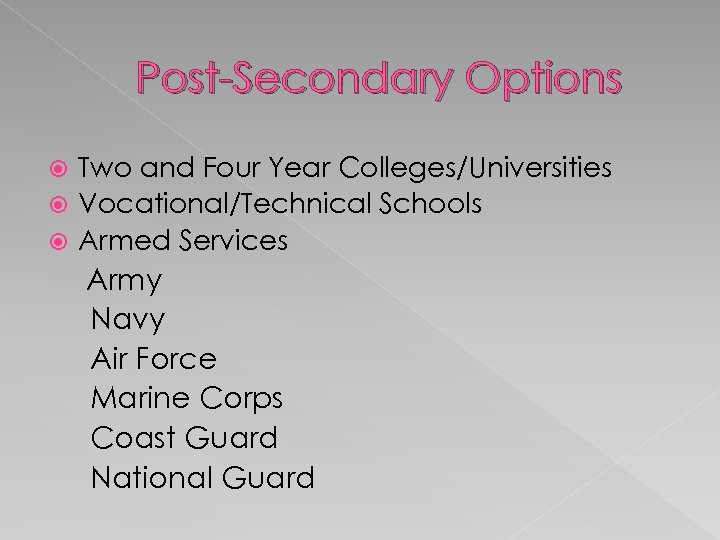 Post-Secondary Options Two and Four Year Colleges/Universities Vocational/Technical Schools Armed Services Army Navy Air