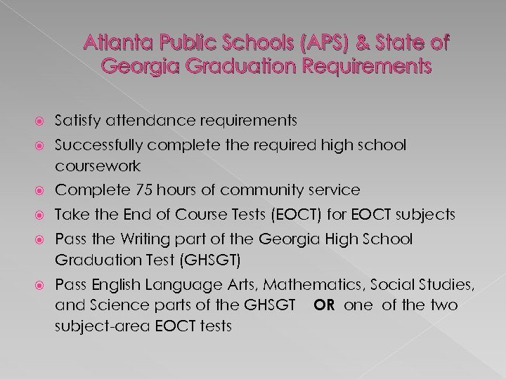 Atlanta Public Schools (APS) & State of Georgia Graduation Requirements Satisfy attendance requirements Successfully