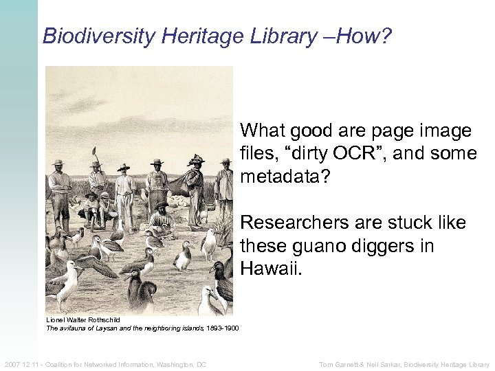 """Biodiversity Heritage Library –How? """"Guano diggers among the albatrosses. Laysan Island"""" What good are"""