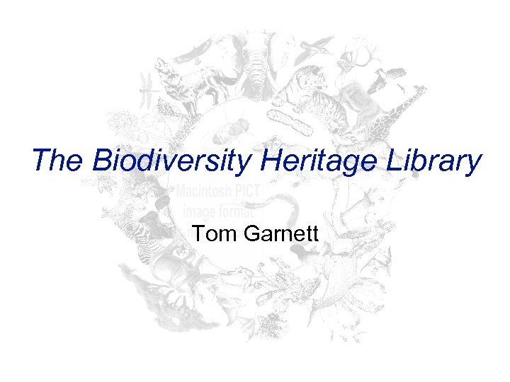 The Biodiversity Heritage Library Tom Garnett