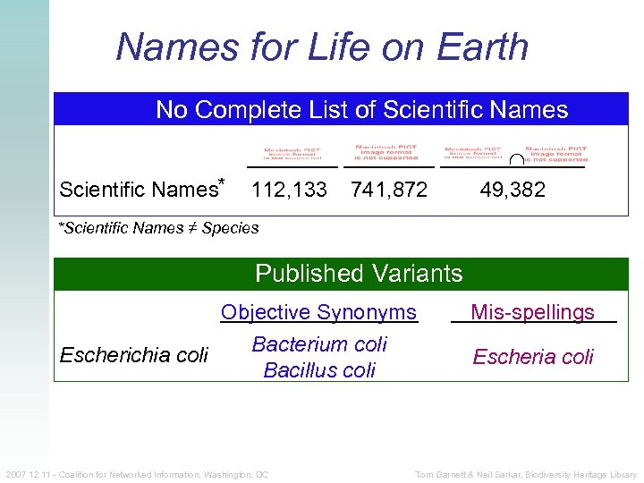 Names for Life on Earth No Complete List of Scientific Names* 112, 133 741,
