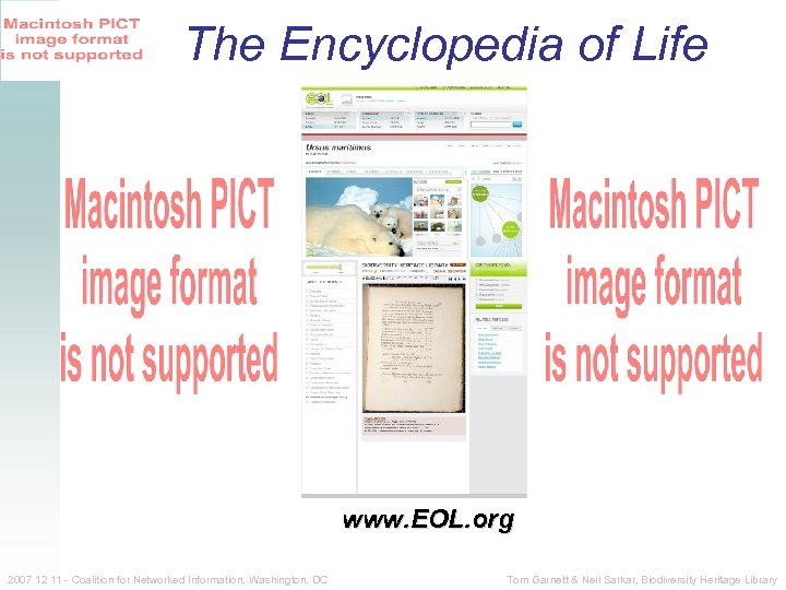 The Encyclopedia of Life www. EOL. org 2007 12 11 - Coalition for Networked