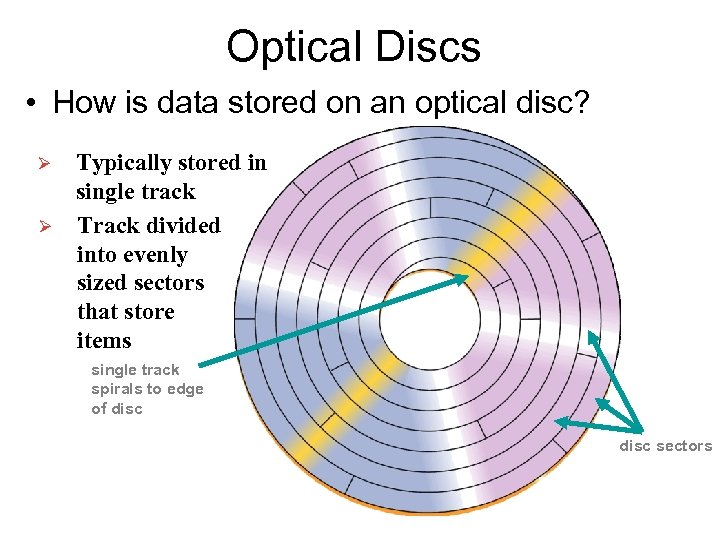 Optical Discs • How is data stored on an optical disc? Ø Ø Typically