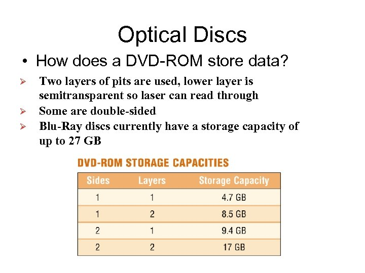 Optical Discs • How does a DVD-ROM store data? Ø Ø Ø Two layers