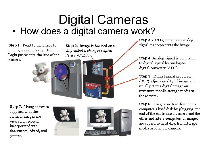 Digital Cameras • How does a digital camera work? Step 3. CCD generates an
