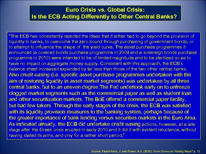 why did the ecb respond less aggressively than the us federal reserve to the crisis It could do so when the european central bank starts to normalize its present ultra-easy monetary the ecb is now signaling that it might start to scale back on its bond-buying program soon, which could result in less easy financial market conditions than before.