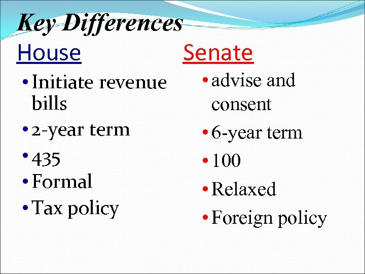 Key Differences House Senate • Initiate revenue bills • 2 -year term • 435