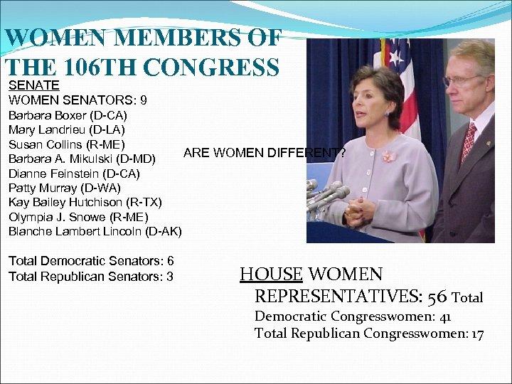 WOMEN MEMBERS OF THE 106 TH CONGRESS SENATE WOMEN SENATORS: 9 Barbara Boxer (D-CA)