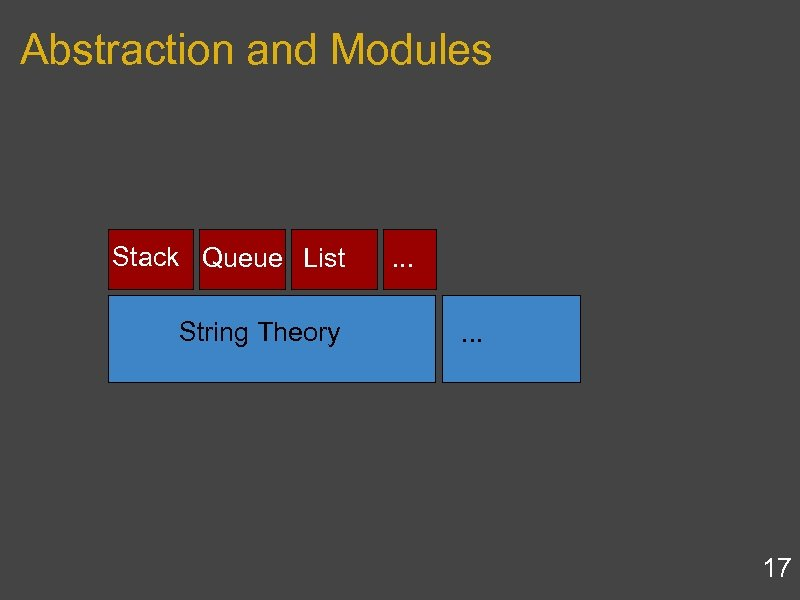 Abstraction and Modules Stack Queue List String Theory . . . 17