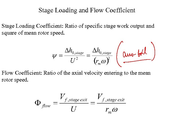 Stage Loading and Flow Coefficient Stage Loading Coefficient: Ratio of specific stage work output