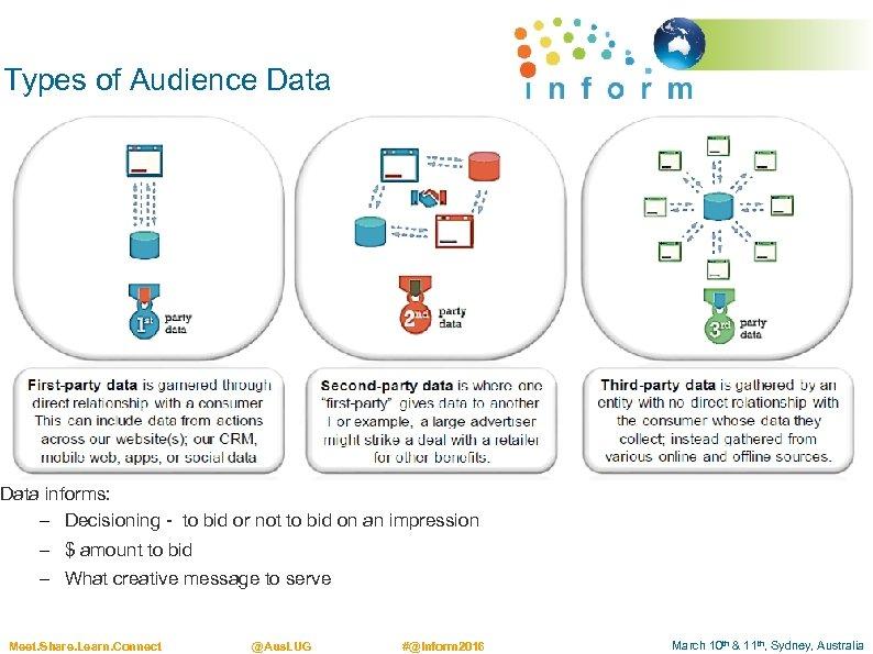 Types of Audience Data informs: – Decisioning - to bid or not to bid