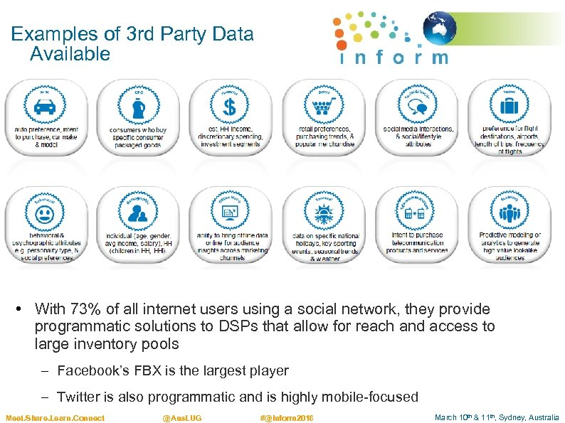 Examples of 3 rd Party Data Available • With 73% of all internet users