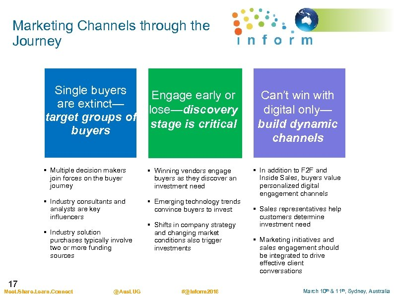 Marketing Channels through the Journey Single buyers are extinct— target groups of buyers Engage