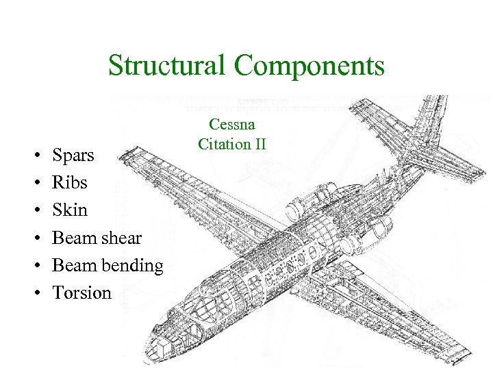 Structural Components • • • Spars Ribs Skin Beam shear Beam bending Torsion Cessna