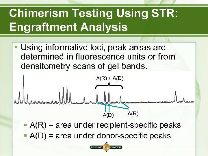 Chimerism Testing Using STR: Engraftment Analysis § Using informative loci, peak areas are determined