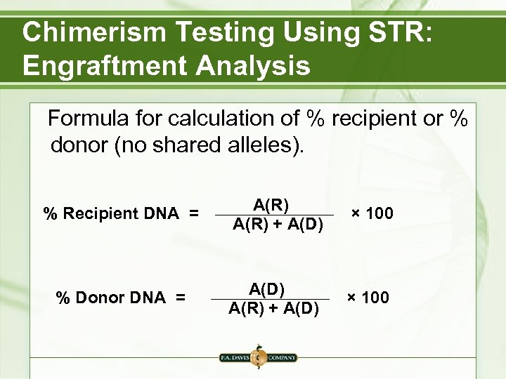 Chimerism Testing Using STR: Engraftment Analysis Formula for calculation of % recipient or %