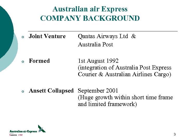 Australian air Express COMPANY BACKGROUND o Joint Venture Qantas Airways Ltd & Australia Post