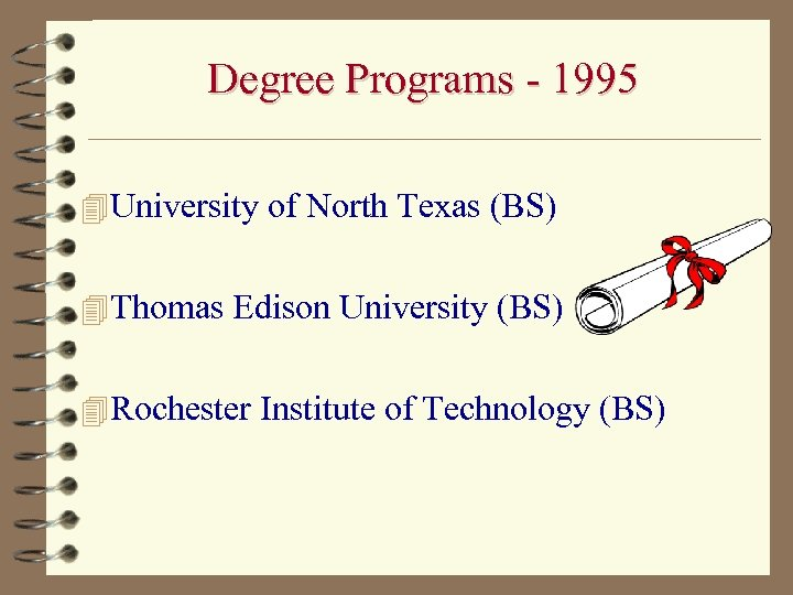 Degree Programs - 1995 4 University of North Texas (BS) 4 Thomas Edison University