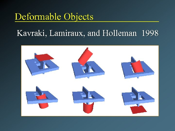 Deformable Objects Kavraki, Lamiraux, and Holleman 1998