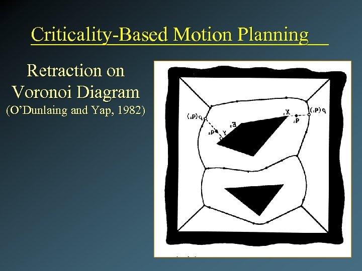 Criticality-Based Motion Planning Retraction on Voronoi Diagram (O'Dunlaing and Yap, 1982)