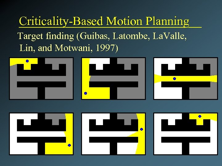 Criticality-Based Motion Planning Target finding (Guibas, Latombe, La. Valle, Lin, and Motwani, 1997)