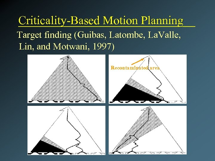 Criticality-Based Motion Planning Target finding (Guibas, Latombe, La. Valle, Lin, and Motwani, 1997) Recontaminated