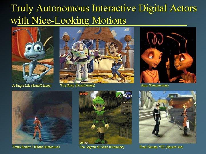 Truly Autonomous Interactive Digital Actors with Nice-Looking Motions A Bug's Life (Pixar/Disney) Tomb Raider