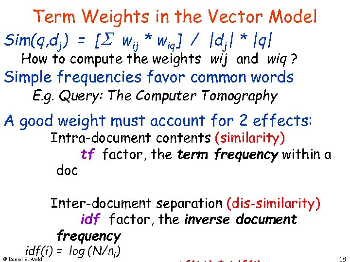 Term Weights in the Vector Model Sim(q, dj) = [ wij * wiq] /