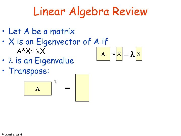 Linear Algebra Review • Let A be a matrix • X is an Eigenvector
