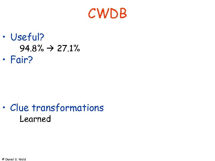 CWDB • Useful? 94. 8% 27. 1% • Fair? • Clue transformations Learned ©