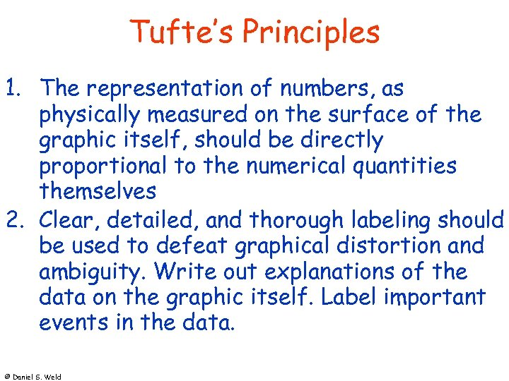 Tufte's Principles 1. The representation of numbers, as physically measured on the surface of