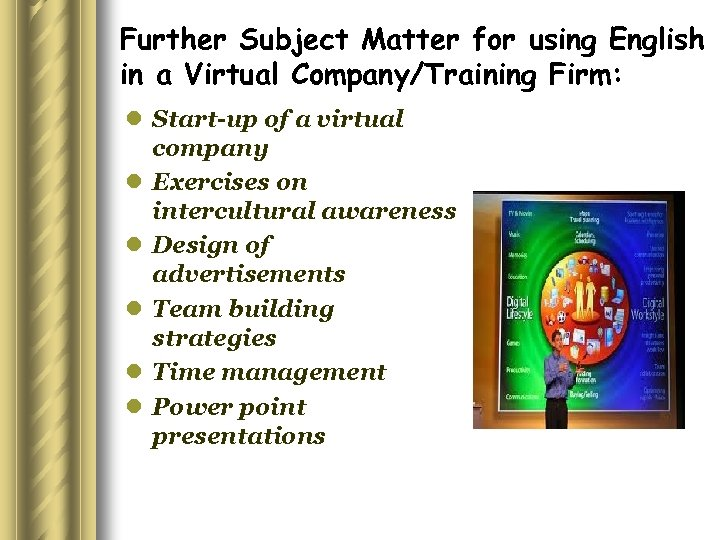 Further Subject Matter for using English in a Virtual Company/Training Firm: l Start-up of