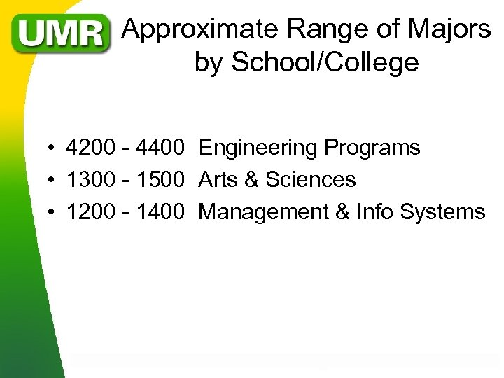 Approximate Range of Majors by School/College • 4200 - 4400 Engineering Programs • 1300