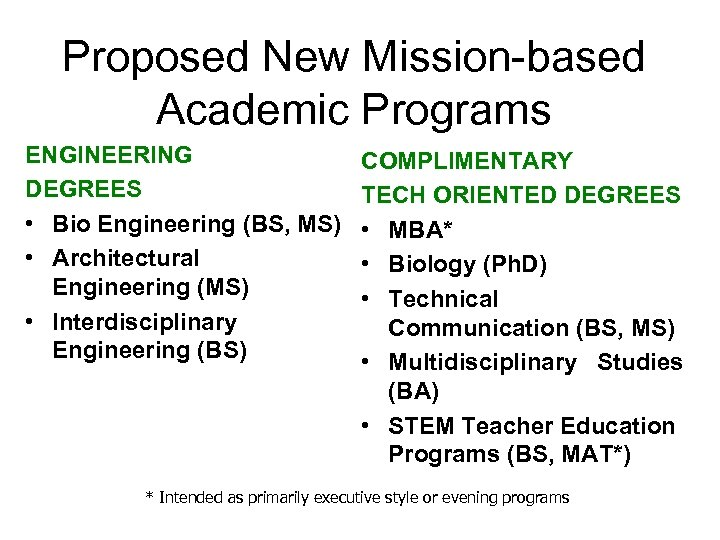 Proposed New Mission-based Academic Programs ENGINEERING DEGREES • Bio Engineering (BS, MS) • Architectural