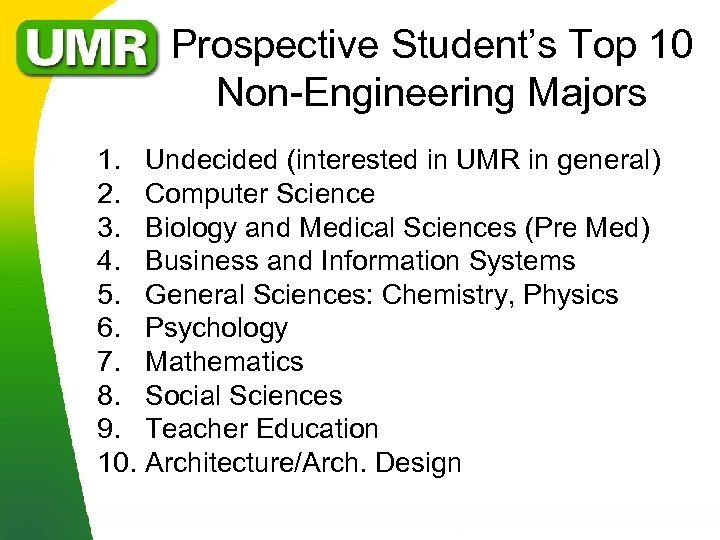 Prospective Student's Top 10 Non-Engineering Majors 1. Undecided (interested in UMR in general) 2.