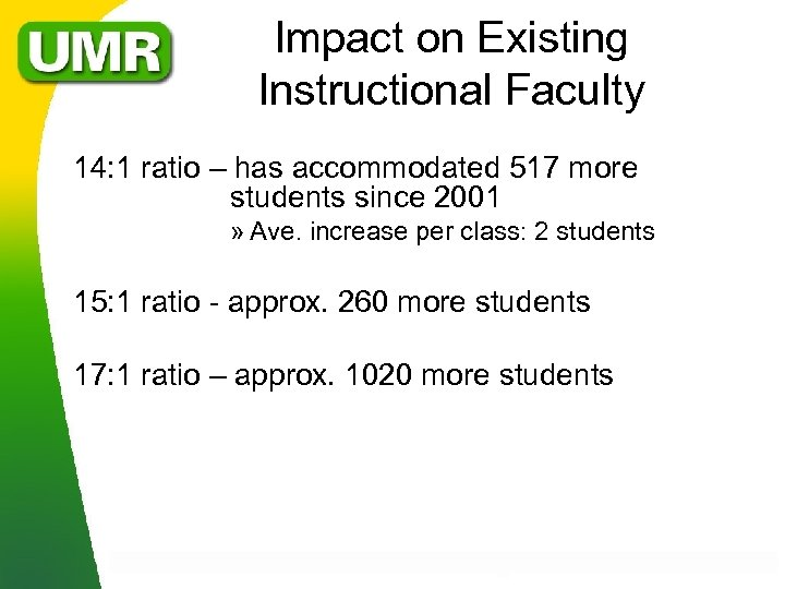 Impact on Existing Instructional Faculty 14: 1 ratio – has accommodated 517 more students