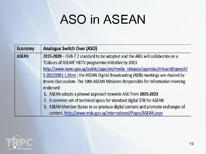 ASO in ASEAN 19
