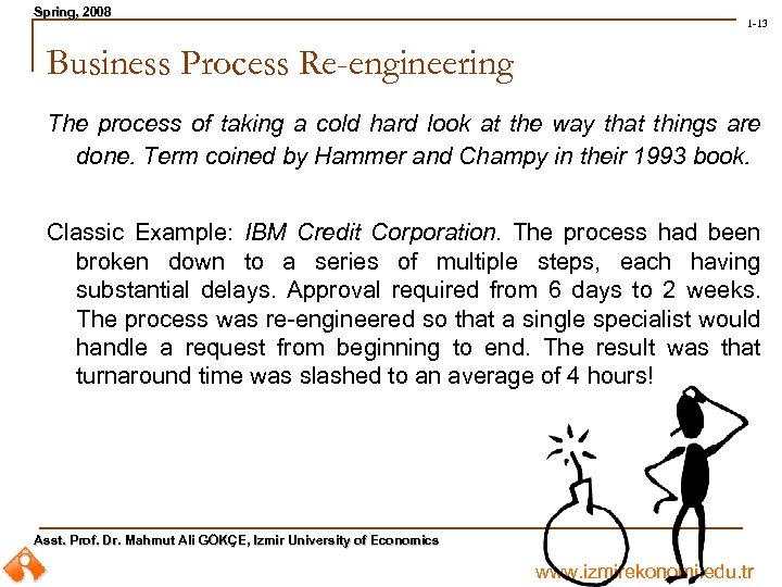 Spring, 2008 Spring, 1 -13 Business Process Re-engineering The process of taking a cold