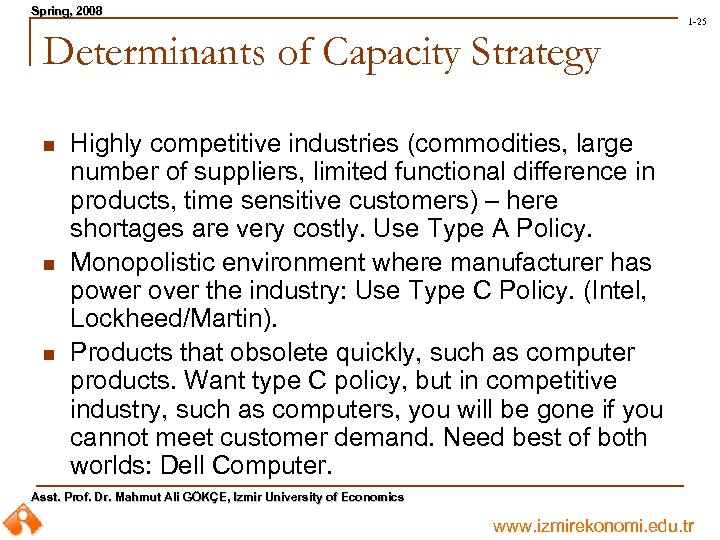 Spring, 2008 Spring, 1 -25 Determinants of Capacity Strategy n n n Highly competitive