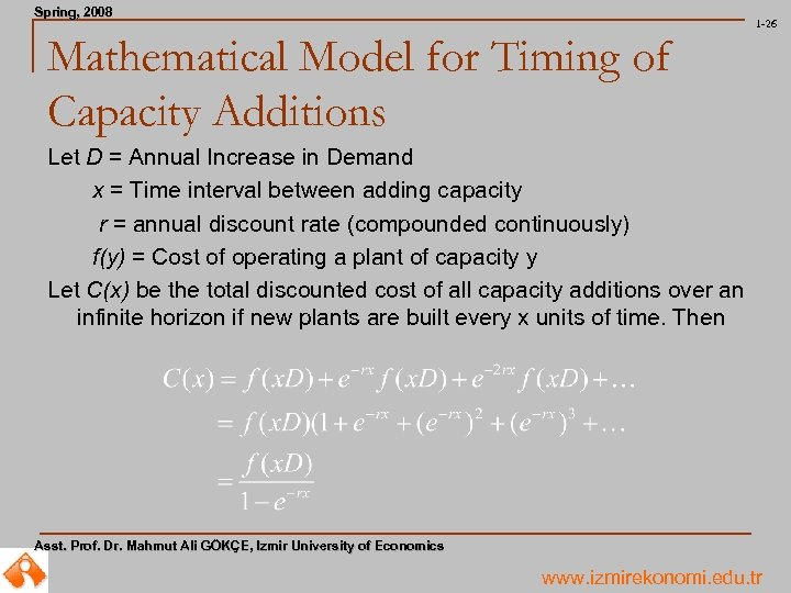Spring, 2008 Spring, 1 -26 Mathematical Model for Timing of Capacity Additions Let D