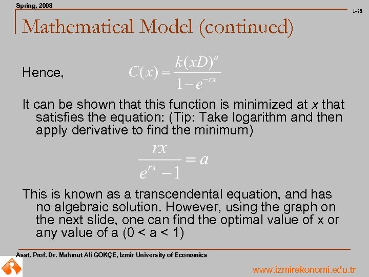 Spring, 2008 Spring, 1 -28 Mathematical Model (continued) Hence, It can be shown that