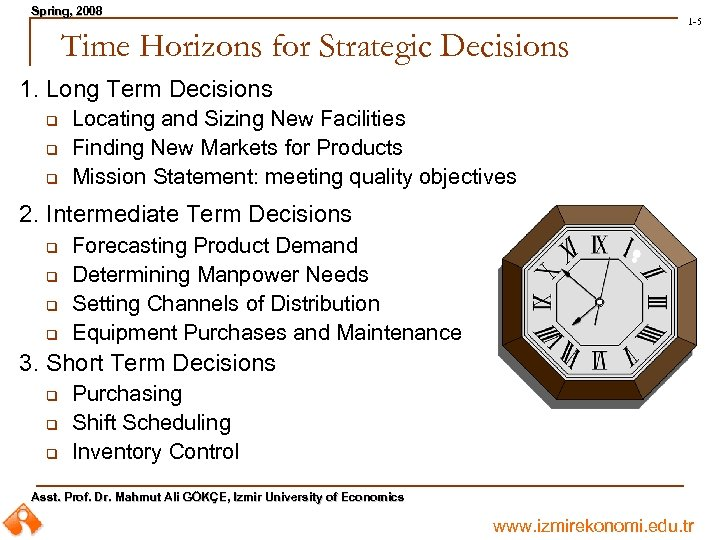 Spring, 2008 Spring, Time Horizons for Strategic Decisions 1 -5 1. Long Term Decisions