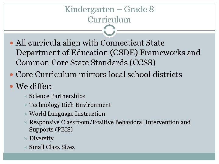 Kindergarten – Grade 8 Curriculum All curricula align with Connecticut State Department of Education