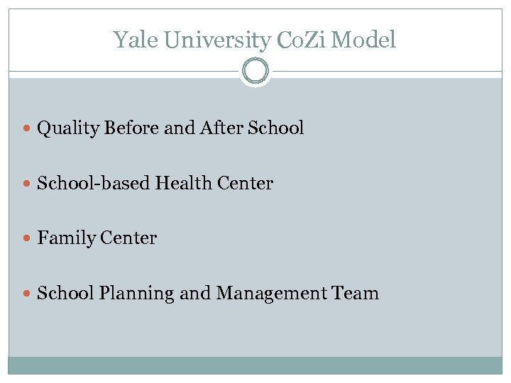 Yale University Co. Zi Model Quality Before and After School-based Health Center Family Center