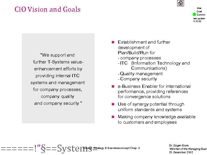 CIO Vision and Goals Idea Draft Commit last update 9. 10. 02 n ======!