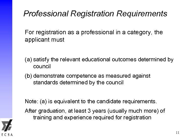 Professional Registration Requirements For registration as a professional in a category, the applicant must