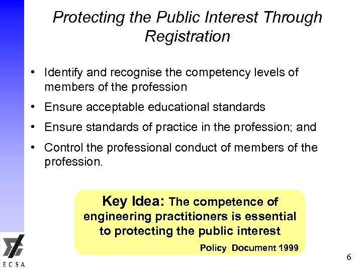 Protecting the Public Interest Through Registration • Identify and recognise the competency levels of