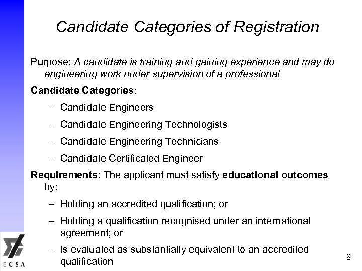 Candidate Categories of Registration Purpose: A candidate is training and gaining experience and may