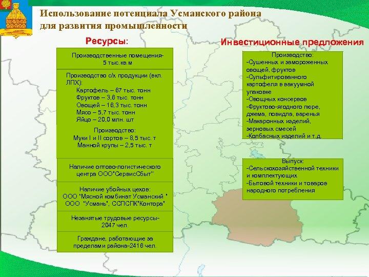 Использование потенциала Усманского района для развития промышленности Ресурсы: Производственные помещения 5 тыс. кв. м